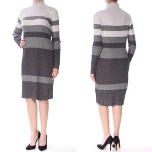 Ck Metallic Striped Turtleneck Sweater D